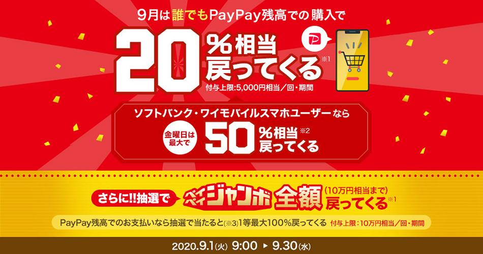PayPay残高購入で20%相当戻ってくるキャンペーンを開催中
